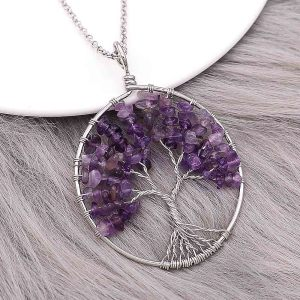 Natural stone-agate Tree of life Pendant of necklace fashion style jewelry