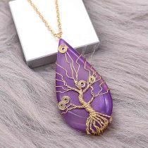 Naturstein-Achat Lebensbaum Goldener Anhänger aus Halskette Modeschmuck