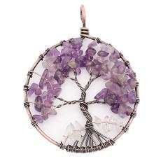 Ágata de piedra natural Árbol de la vida de cobre Colgante de collar de joyería de estilo de moda