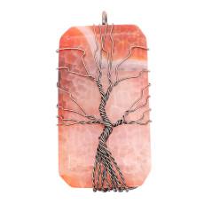 Naturstein-Achat Lebensbaum Kupfer Anhänger Halskette Modeschmuck