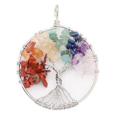Ágata de piedra natural Árbol de la vida Colgante de collar de joyería de estilo de moda