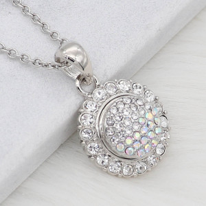 12MM design Round metal silver plated snap with colorful rhinestone KS7132-S charms snaps jewelry