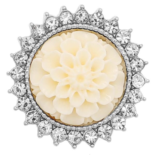 20MM Flowers snap Versilbert mit weißem Strass und Harz KC9234 charms snaps jewelry