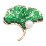 20MM Ginkgoblatt-Perlenverschluss Vergoldet mit grüner Emaille KC8085 bezaubert den Schmuck