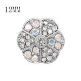 Diseño 12MM Broche redondo de metal plateado con coloridos diamantes de imitación KS7138-S encantos encajes joyería