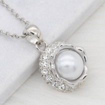 12MM design metal silver snap with White pearl KS7122-S charms snaps jewelry