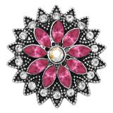 20MM Blumen Snap versilbert mit rosarotem Strass KC9241 Charms Snaps Schmuck