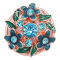 20MM flower snap rose-gold plated with blue rhinestone and enamel KC8079 charms snaps jewelry