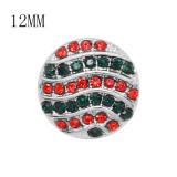Diseño navideño 12MM Broche redondo plateado de metal con diamantes de imitación verde y rojo KS7130-S encantos encajes joyería