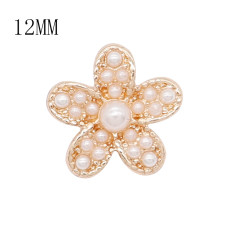 12MM flower Gold metal snap with white pearls KS7103-S charms snaps jewelry