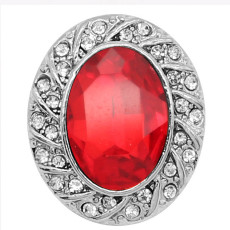 20MM design snap Silver Plated with red rhinestone  KC9231 charms snaps jewelry