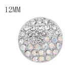 Diseño 12MM Broche redondo de metal plateado con coloridos diamantes de imitación KS7132-S encantos encajes joyería