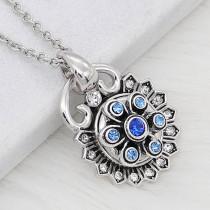 12MM дизайн металл серебро оснастки с синим стразами KS7126-S подвески оснастки ювелирные изделия