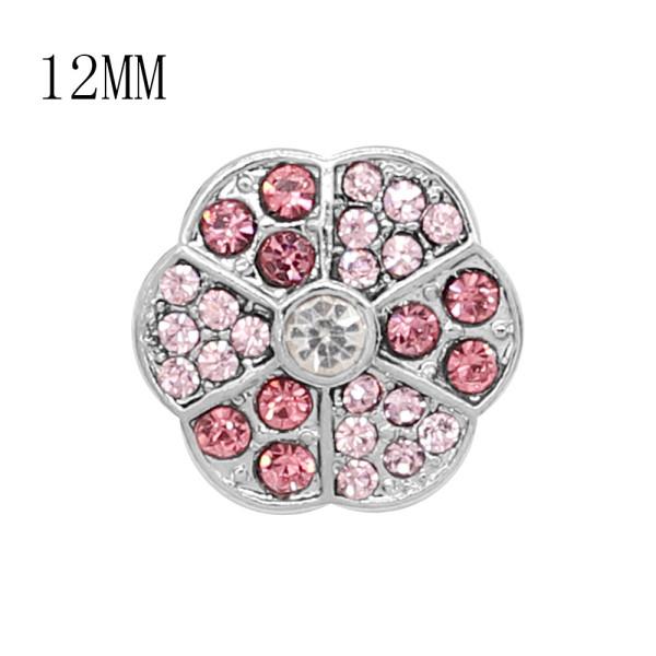 Diseño 12MM Broche redondo de metal plateado con diamantes de imitación rosa KS7137-S encantos encajes joyería
