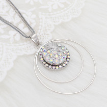 20MM design Round metal silver plated snap with White rhinestone KC8099 charms snaps jewelry