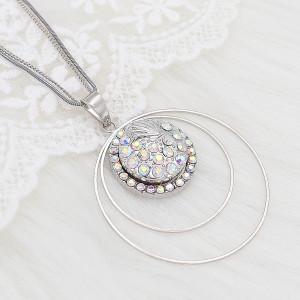 Diseño 20MM Broche redondo de metal plateado con diamantes de imitación blancos KC8099 encantos encajes joyería