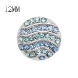 Diseño 12MM Broche plateado de metal redondo plateado con diamantes de imitación azules KS7129-S encantos encajes joyería