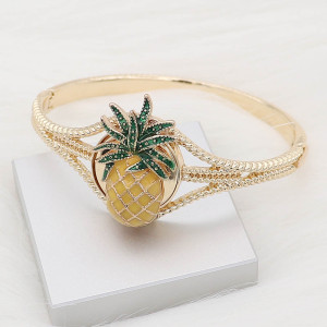 20MM Pineapple snap gold plated with yellow enamel charms KC8097 snaps jewelry