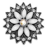 20MM Blumen Snap versilbert mit weißem Strass KC9245 Charms Snaps Schmuck