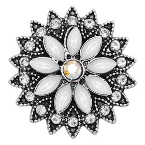 20MM flores de plata chapada con diamantes de imitación blancos KC9245 encantos encajes joyería