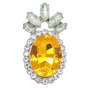 20MM pineapple snap gold Plated with yellow rhinestone KC9252 charms snaps jewelry