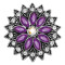 20MM flowers snap silver Plated with purple rhinestone KC9242 charms snaps jewelry