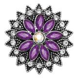 20MM Blumen Snap versilbert mit lila Strass KC9242 Charms Snaps Schmuck