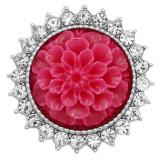 20MM Flowers snap versilbert mit Strass und rotem Harz KC9235 charms snaps jewelry