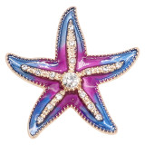 20MM Starfish snap gold Plated with  charms KC9238  Purple