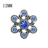 12MM Design Metall Silber Snap mit blauem Strass KS7126-S Charms Snaps Schmuck