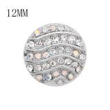 Diseño 12MM Broche redondo de metal plateado con coloridos diamantes de imitación KS7128-S encantos encajes joyería