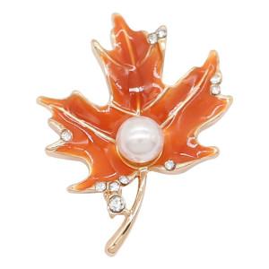 20MM Hojas de arce broche de perlas Chapado en oro con diamantes de imitación y esmalte naranja Encantos KC8084 broches joyería