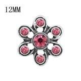 Diseño de metal 12MM broche de plata con diamantes de imitación rosa KS7124-S encantos encajes joyería