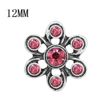 12MM Design Metall Silber Snap mit Rose Strass KS7124-S Charms Snaps Schmuck