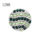 Diseño 12MM Broche redondo plateado de metal con diamantes de imitación verdes KS7131-S encantos encajes joyería