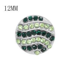 Дизайн 12MM Круглая металлическая посеребренная оснастка с зеленым горным хрусталем KS7131-S очаровывает защелки для украшений