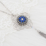 20MM flowers snap silver Plated with blue rhinestone KC9244 charms snaps jewelry