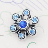 Diseño de metal 12MM broche de plata con diamantes de imitación azules KS7126-S encantos encajes joyería