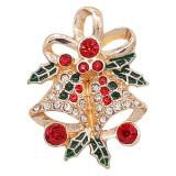 20MM Navidad chapado en oro chapado con diamantes de imitación y esmalte KC9248 encantos encajes joyería
