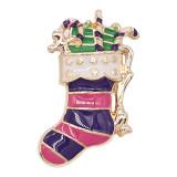 20MM Broche de Navidad chapado en oro con esmalte KC9249 encantos encajes joyería