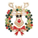 20MM Navidad chapado en oro chapado con diamantes de imitación y esmalte KC9246 encantos encajes joyería