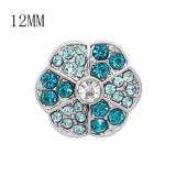 Diseño 12MM Broche plateado de metal redondo plateado con diamantes de imitación azules KS7136-S encantos encajes joyería