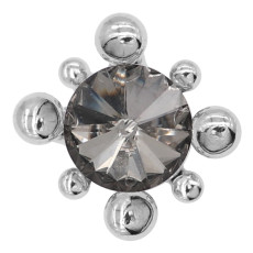 20MM design snap silver plated with gray rhinestone charms KC8088 snaps jewelry