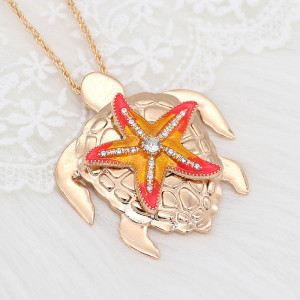 20MM Starfish snap gold Plated with Yellow charms KC9239 snaps jewerly