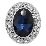 20MM design snap plaqué argent avec strass bleu KC9229 charms s'enclenche les bijoux