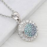 Diseño 12MM Broche plateado de metal redondo plateado con diamantes de imitación azules KS7134-S encantos encajes joyería