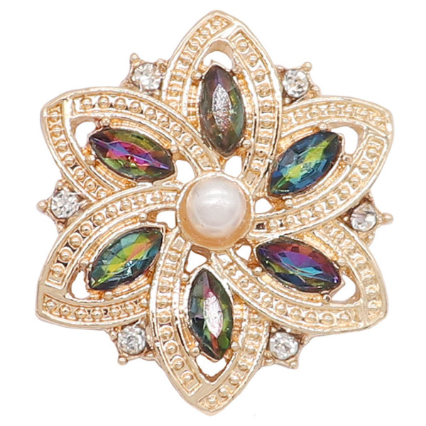 20MM flowers snap Gold Plated with Opal green rhinestone And pearls KC9225 charms snaps jewelry