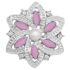 20MM flowers snap silver Plated with purple rhinestone And pearls KC9226 charms snaps jewelry