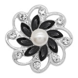 20MM flowers snap silver Plated with Black rhinestone And pearls KC9257 charms snaps jewelry
