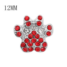12MM design print metal silver plated snap with Red rhinestone KS7141-S charms snaps jewelry